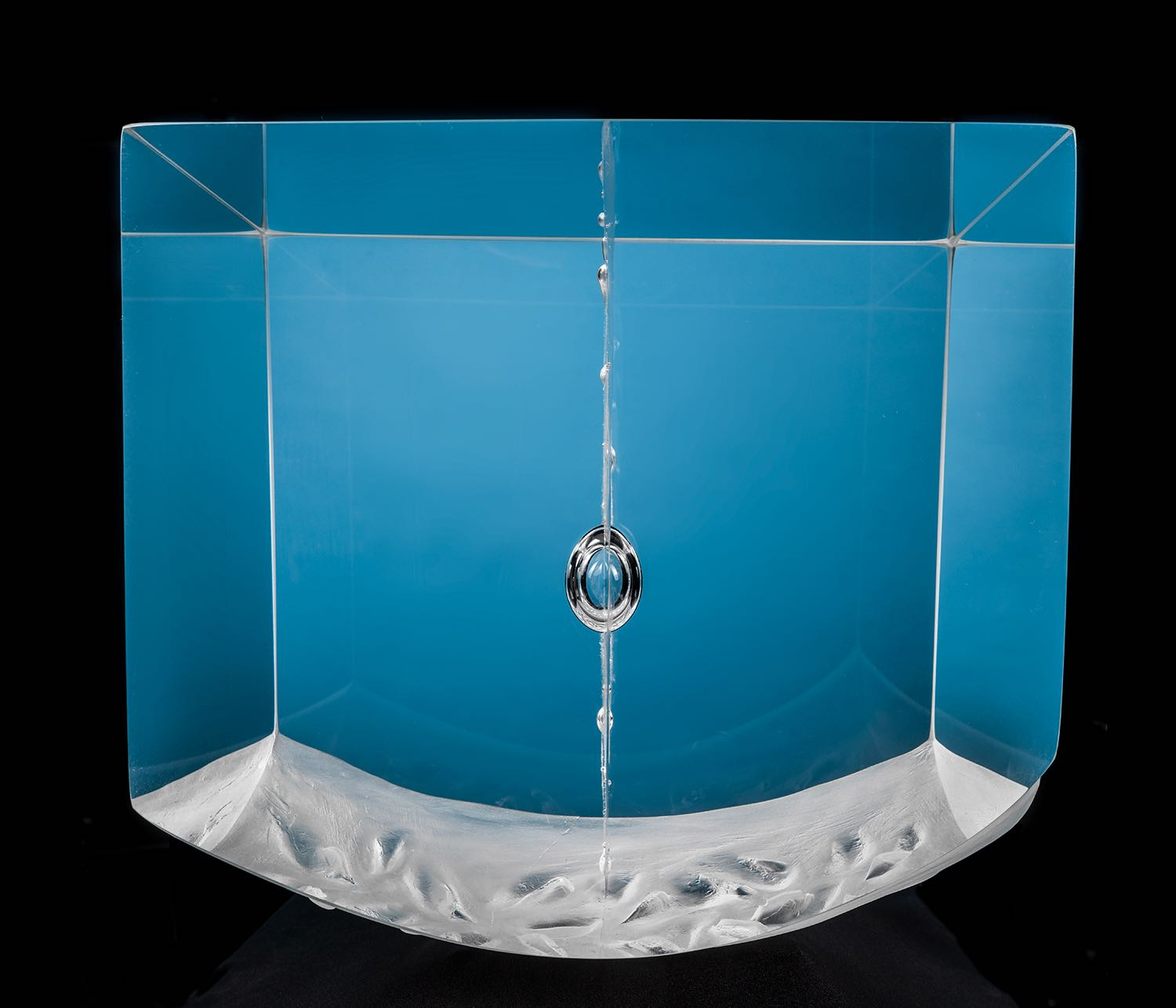 Glass sculpture Pendulum blue light